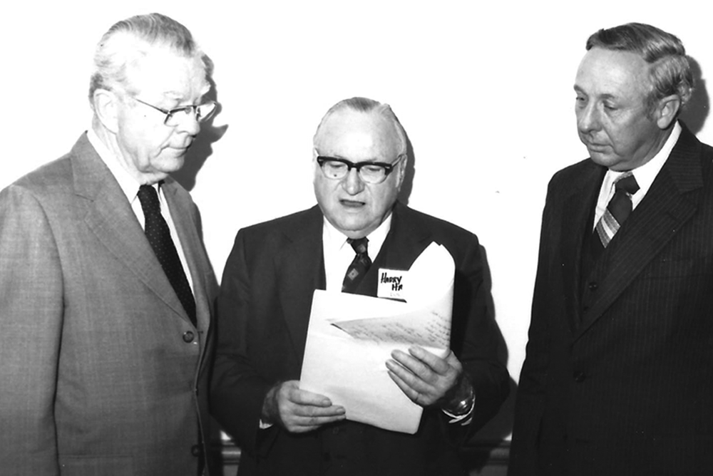 Bishop Carl Sanders (left), Harry P. Hall, and James Y. Carroll at the 1979 United Methodist Foundation organizational meeting